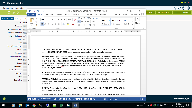 Configuración plantilla de documentos