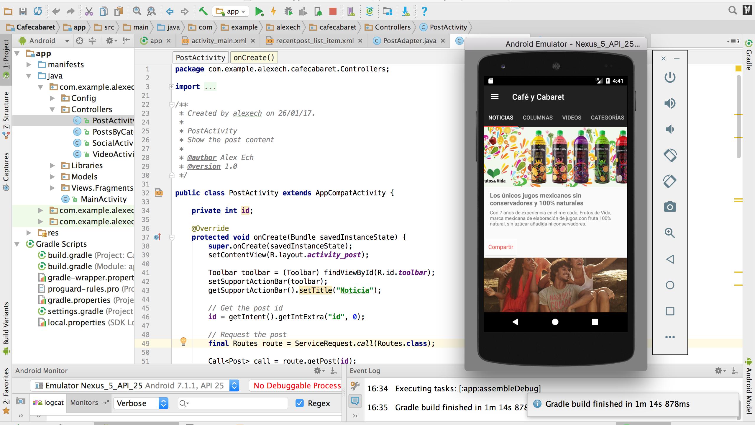 Desarrollo de aplicación Android