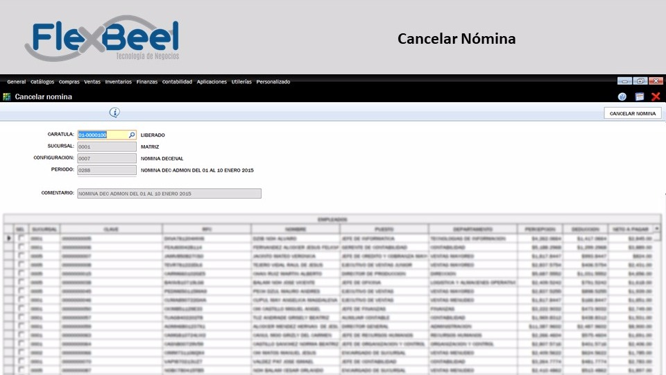 Cancelar recibos individuales de Nomina