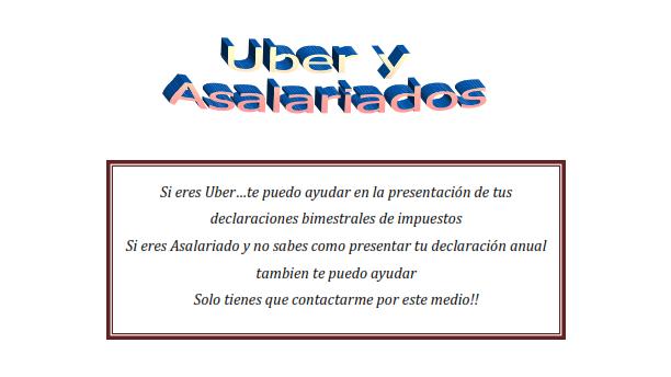 Servicios contables para contribuyentes en RIF para Uber y Declaracion anual para asalariados