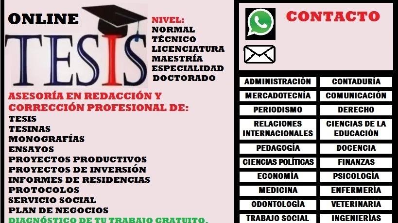 Asesoría y corrección de Tesis Tesinas Monografías Informes Proyectos Ensayos Artículos Protocolos