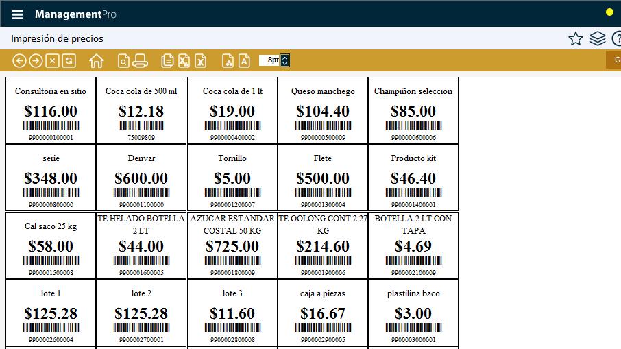 Impresión de producto con su código de barras