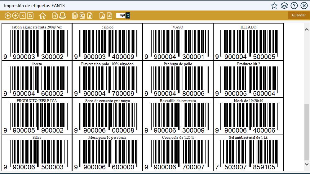 Reporte impresión de etiquetas con código de barras EAN13
